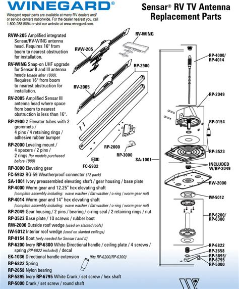 caravansplus spare parts diagram winegard sensar rv tv antenna