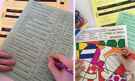 Coloring Page Parts Of Speech Advanced | parts of speech coloring pages art with jenny k