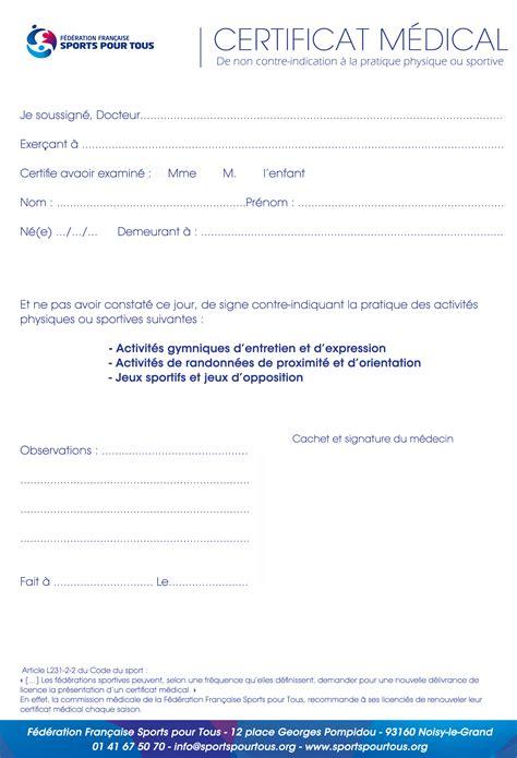 Certificat Médical Sport Modèle
