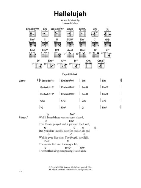 printable hallelujah lyrics jeff buckley hallelujah sheet music direct