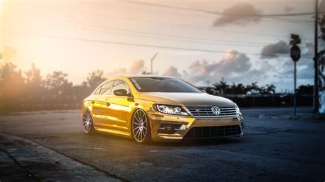 gold volkswagen gold volkswagen passat car sun rays wallpapers hd
