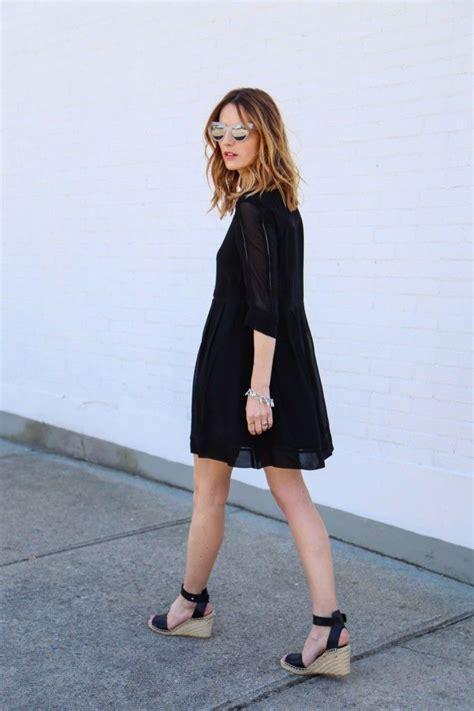 Jv Dress Wedges Sunglases s black swing dress black leather wedge sandals grey sunglasses silver bracelet