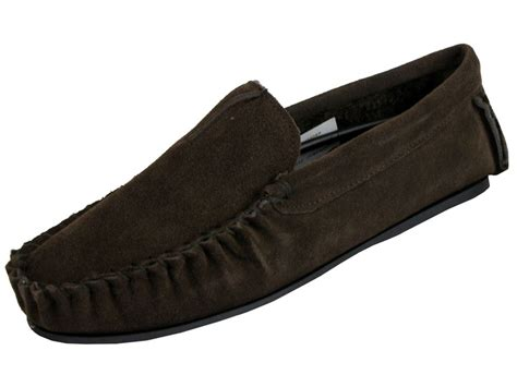 mens leather fur lined slippers mens dunlop moccasin premium collection logan slippers