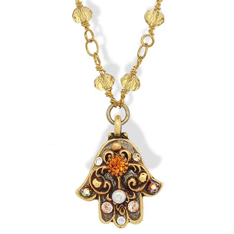 jewelry judaica gold tone hamsa necklace