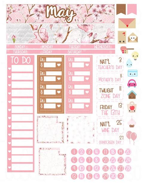 Monthly Planner Sticker printable planner stickers may monthly kit month spread