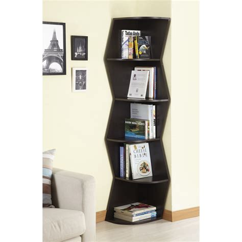 Furniture Of America Waverly Modern Walnut 6 Tier Corner Modern Corner Bookcase