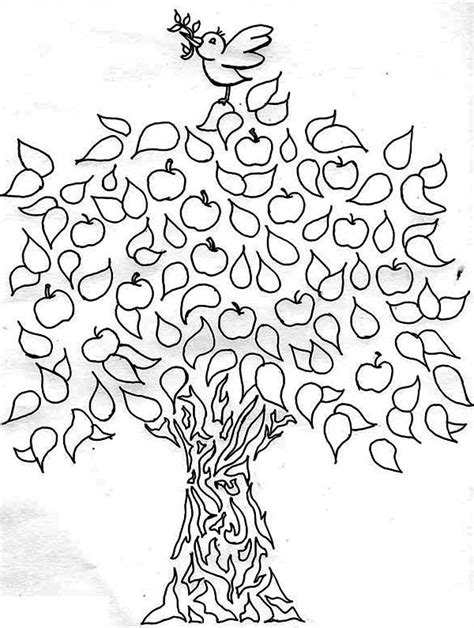 coloring pages of birds in trees apple tree a bird and an apple tree coloring page