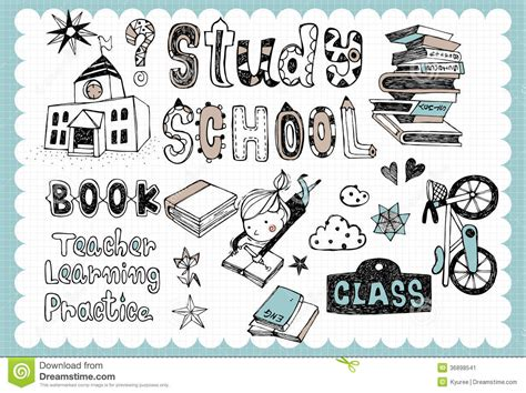 style related to school set 01 stock vector image of