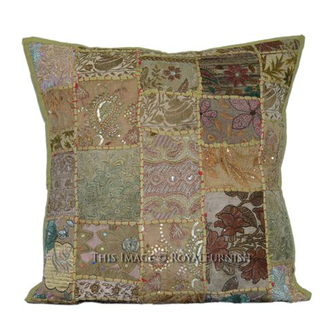 Handmade Pillow - green boho patchwork handmade pillow sham 20x20 inch
