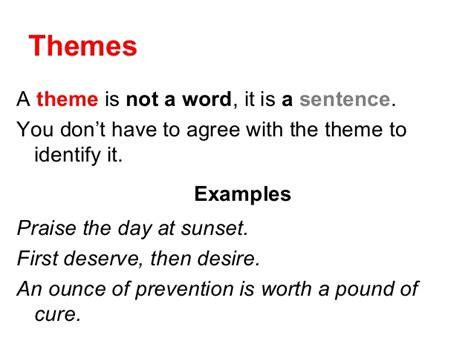 Theme Definition And Sentence   theme lesson 2