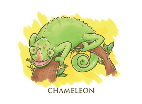 chameleon cartoon illustration   vectors