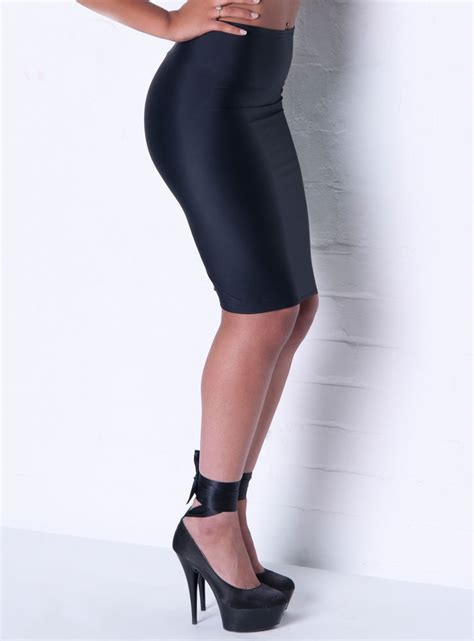 black silky lycra pencil skirt 10 12 pull on wiggle