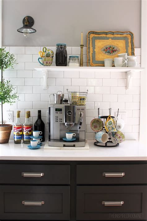 kitchen coffee station cabinet diy decorating my house tour the inspired room