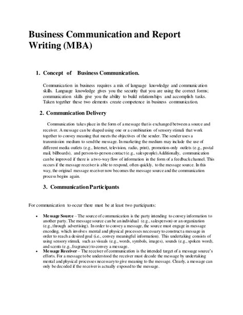 Mba Buisness Communication by Business Communication And Report Writing Mba