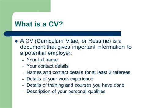 curriculum vitae or resume writing ppt