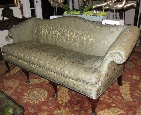 how to reupholster an antique sofa antique chippendale camelback sofa w green beige silk