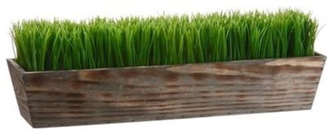 Indoor Grass Planters by Faux Grass In Wood Planter Green Modern Artificial Flower Arrangements By Rakuten