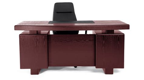 Modern Desk With Storage Mahogany Wood Modern Desk With Leather Pad And Storage Zuri Furniture