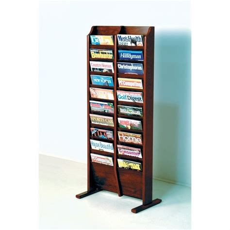 design magazine stand wooden mallet 20 pocket magazine rack in mahogany mr20 fsmh
