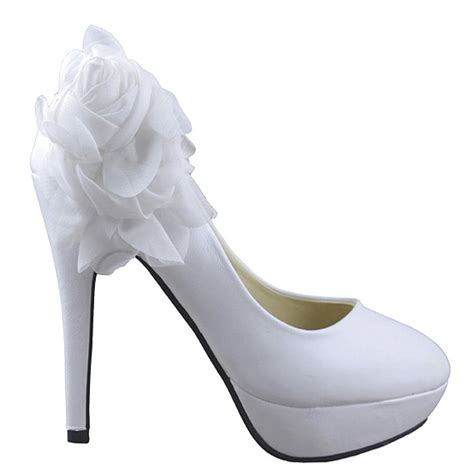 white bridal wedding shoes flowers high heels platform