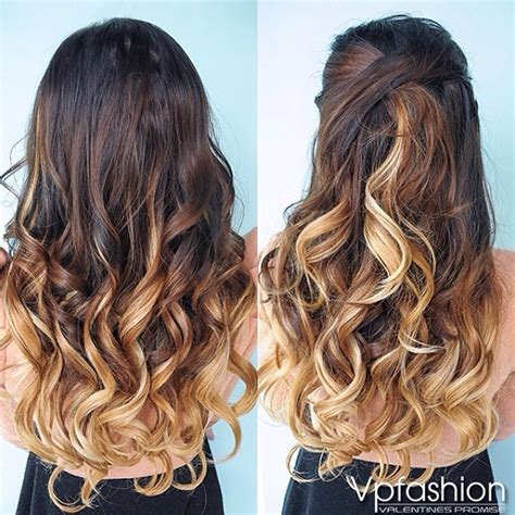 fashion ombre clip in remy hair extensions 3 4 brown ombre indian remy clip in hair extensions