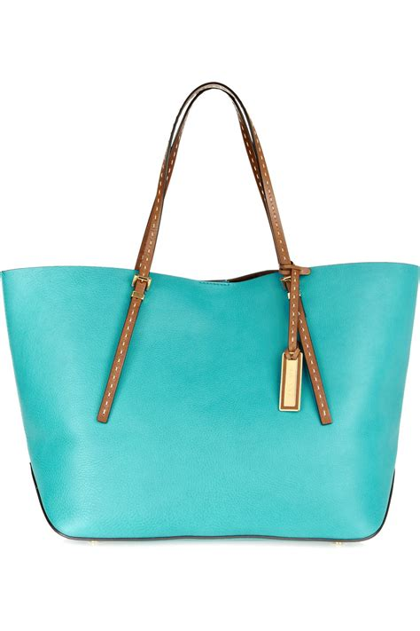 michael kors leather tote in blue turquoise lyst