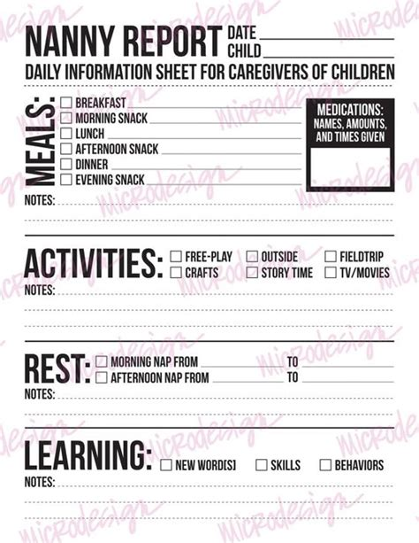 nanny daily log template each day children and caregiver on