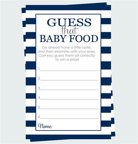 navy stripe guess the baby food game instant by