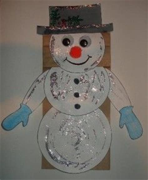 snowman brown paper bag puppet crafts