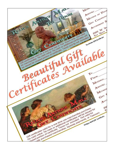 Gifts For Everyone Gift Cards For All Tastes by Relics Antique Mall Missouri S Largest Antique Mall
