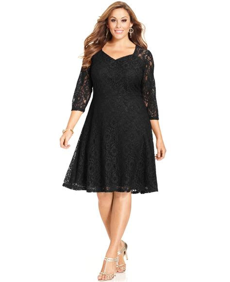 Sleeve Lace A Line Dress spense plus size three quarter sleeve lace a line dress in