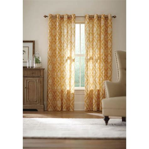 Gold Grommet Curtains Home Decorators Collection Gold Grommet Curtain 52 In W X 84 In L Arabesque 710 400 The