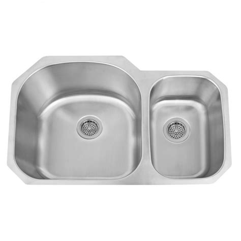 D Shaped Kitchen Sink 32 Quot Infinite D Shaped 70 30 Offset Bowl Stainless Steel Undermount Sink Small Bowl