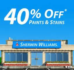 sherwin williams sale 40 off paints and stains 10 off