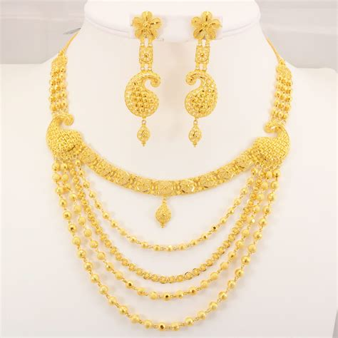 gold uk 22 carat indian gold 5 chain necklace set 70 4 grams