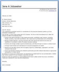 Cover Letters For Executive Assistants by Executive Assistant Cover Letter Sles Resume Downloads
