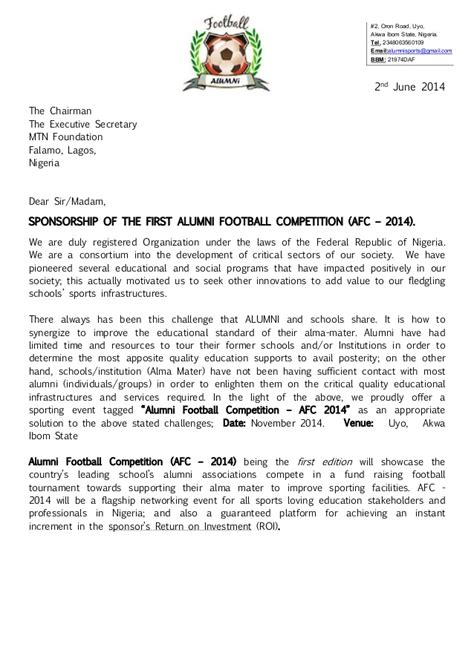 Letter Sle For Competition Alumni Football Competition Afc 2014 Registration Package Spons