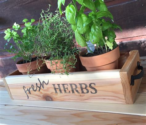 How To Plant Herbs In Planter Boxes by Cedar Herb Planter Box Wooden Planter Box Rustic Kitchen