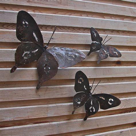 metal butterfly garden wall set of three garden wall