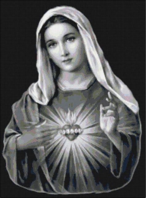 virgin mary sacred heart catholic cross stitch pattern ebay