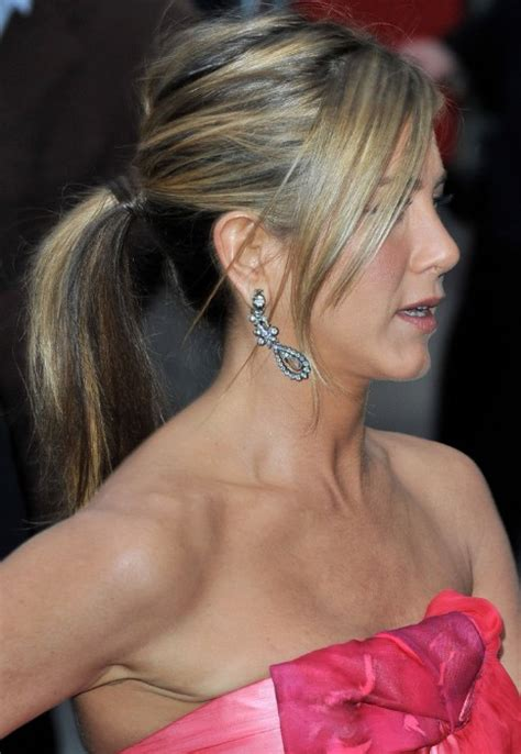 ponytail with tapered bangs hairstyles jennifer aniston ponytail hairstyles with side swept bangs