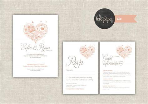 wedding invitation pdf file wedding invitation suite digital printable file lila