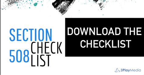 section 508 refresh the ultimate section 508 refresh checklist downloadable