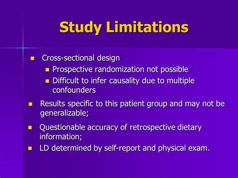 limitations of cross sectional study design christine m stanley b a drago turčinov m d ppt