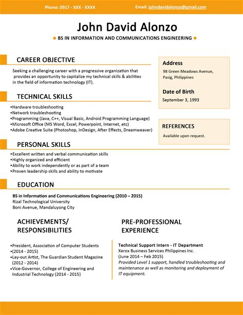Resume Format Sle In The Philippines Resume Templates You Can Jobstreet Philippines