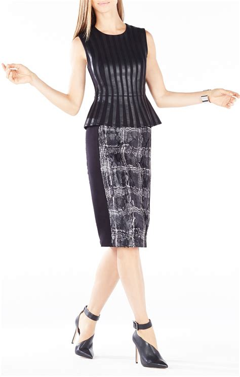 Roland Mouretwool Top With Peplum roland faux leather striped peplum top