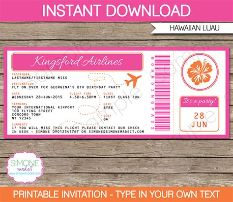 Luau Boarding Pass Invitations Template Birthday Party Boarding Pass Invitation Template Free