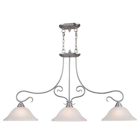 Brushed Nickel Pendant Lighting Kitchen Shop Livex Lighting Coronado 13 In W 3 Light Brushed Nickel Kitchen Island Light With Shade At