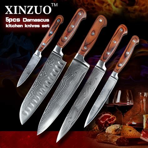 good quality stainless steel kitchen knife with wood xinzuo high quality 5pcs kitchen knife vg10 damascus