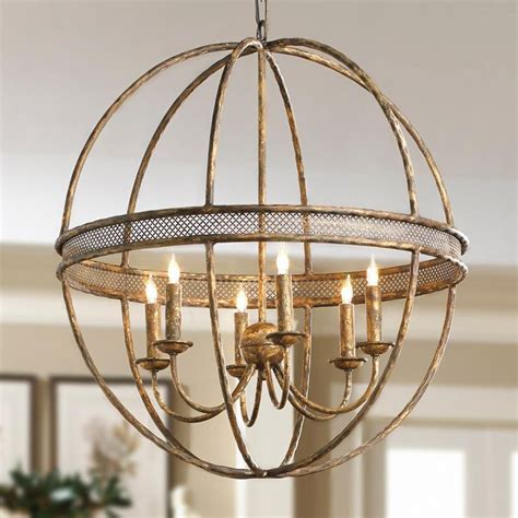 ball with light inside lattice banded sphere chandelier aged golden lattice adds